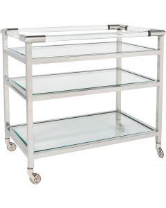 Bradburn Home Silver 3-Shelf Rolling Bar Cart with Lucite Handles