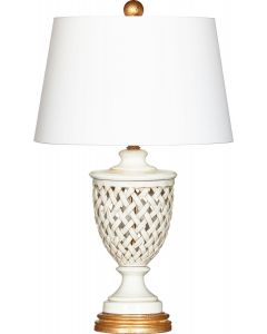 Blanc Calabria White Lattice Italian Table Lamp