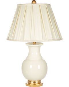 Bradburn Home White Italian Rounded Table Lamp With Pleated Shade - CALL FOR AVAILABILITY