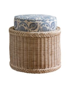 Braided Wicker Chatham Upholstered Foot Stool - Available in Variety of Finishes