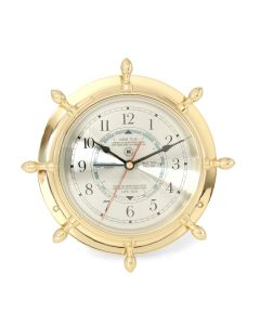 Brass Ship's Wheel Nautical Tide/Time Clock - ON BACKORDER