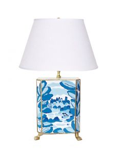Bristow in Blue Toile Footed Lamp with Gold Trim