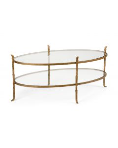 Bronze Two Tier Oval Cocktail Table With Glass Top - ON BACKORDER UNTIL JULY 2020
