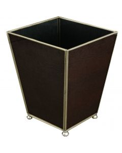 Brown Lizard Skin Wastebasket and Optional Tissue Box