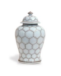 Brown and White Honeycomb Pattern Lidded Ginger Jar
