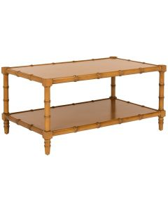 Brown Lacquered Bamboo Coffee Table