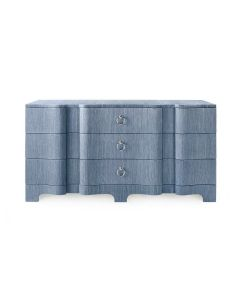 Bungalow 5 Bardot Extra Large 9-Drawer Dresser in Navy Blue Grasscloth