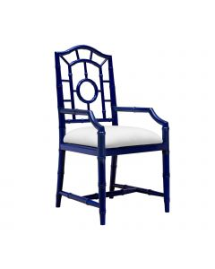 Bungalow 5 Chloe Faux Bamboo Arm Chair in Blue