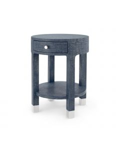 Bungalow 5 Dakota 1-Drawer Side Table in Navy Blue Grasscloth