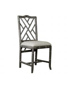Bungalow 5 Hampton Faux Bamboo Chippendale Fretwork Side Chair in Gray Limed Oak