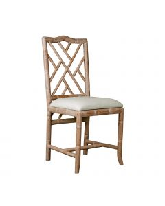 Bungalow 5 Hampton Faux Bamboo Chippendale Fretwork Side Chair in Natural Oak