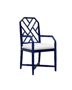 Bungalow 5 Jardin Faux Bamboo Lattice Arm Chair in Blue