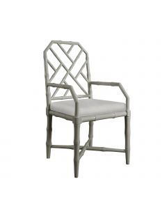 Bungalow 5 Jardin Faux Bamboo Chinoiserie Lattice Armchair in Gray