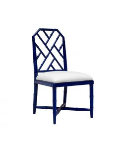 Bungalow 5 Jardin Faux Bamboo Chinoiserie Lattice Side Chair in Blue