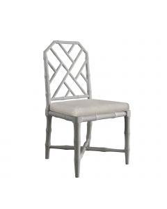 Bungalow 5 Jardin Faux Bamboo Chinoiserie Lattice Side Chair in Gray - ON BACKORDER UNTIL MID APRIL 2020