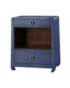 Bungalow 5 Ming 2-Drawer Navy Blue Grasscloth Side Table with Chow Feet