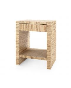 Bungalow 5 Morgan Papyrus Grasscloth 1-Drawer Side Table - ON BACKORDER UNTIL LATE APRIL 2021