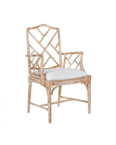 Bungalow 5 Quay Faux Bamboo Chinoiserie Chippendale Arm Chair in Natural