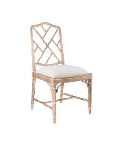 Bungalow 5 Quay Faux Bamboo Chinoiserie Side Chair in Natural