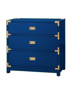Bungalow 5 Victoria Navy Blue 3-Drawer Campaign Side Table