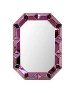Bungalow 5 Romano Mirror with Mirrored Wood Frame in Amethyst