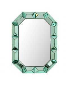 Bungalow 5 Romano Mirror with Mirrored Wood Frame in Emerald Green