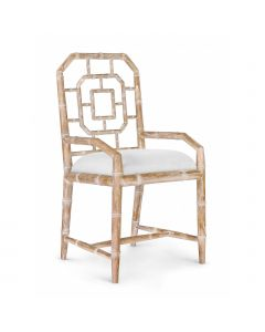 Bungalow 5 Georgica Octagonal Bamboo Fretwork Armchair in Natural - ON BACKORDER UNTIL AUGUST 2019