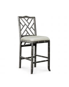 Bungalow 5 Hampton Bamboo Fretwork Counter Stool in Grey