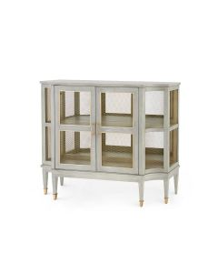 Bungalow 5 Rene Straight Grain Oak Storage Cabinet in Gray with Brass Accents