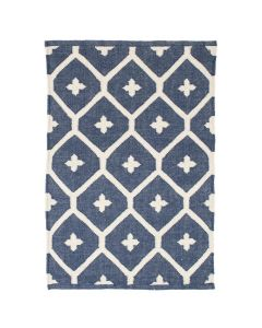 Bunny Williams Elizabeth Indoor/Outdoor Rug in Navy Blue & White - Available in a Variety of Sizes