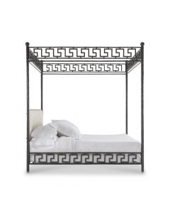 Bunny Williams Ellsworth Black Wrought Iron Greek Key Canopy Bed - Available in Two Sizes