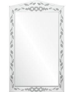 Bunny Williams Etched Mirror Framed Wall Mirror With Floral Leaf Design