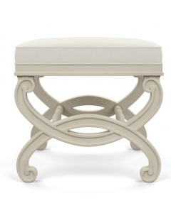 Bunny Williams Charlottesville Off-White X Stool with Natural Linen Upholstery