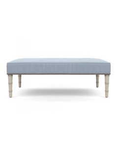 Bunny Williams Ling Upholstered Nailhead Ottoman with Blue & White Striped Fabric & White Bamboo Legs