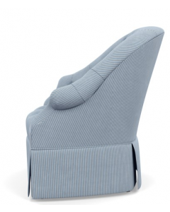 Bunny Williams Olivia Skirted Chair with Blue & White Striped Cotton Upholstery - More Colors Available