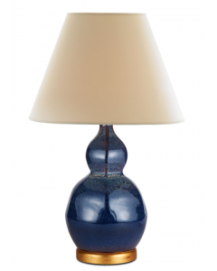 Bunny Williams Small Speckled Ceramic Lamp in Indigo Blue