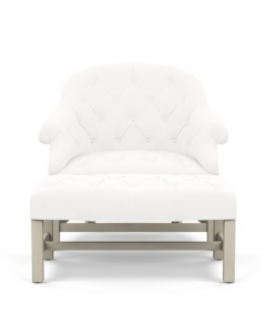 Bunny Williams T42 Chair & Ottoman in Solid White Indoor/Outdoor Fabric with Cream Legs - More Colors Available