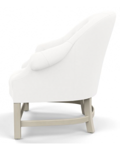 Bunny Williams T42 Tufted Chair Solid White Indoor/Outdoor Fabric with Cream Legs - More Colors Available