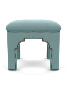 Bunny Williams Taj Upholstered Stool with Nailhead Trim - Available in a Variety of Fabrics & Finishes