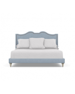 Bunny Williams Upholstered Nailhead Williams Bed in Striped Blue & White Cotton