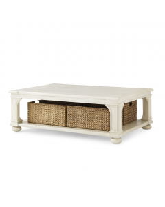 Bunny Williams White Low Country Coffee Table with Water Hyacinth Storage Baskets