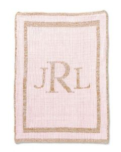 Metallic Classic Monogram Personalized Blanket Available in Variety of Colors