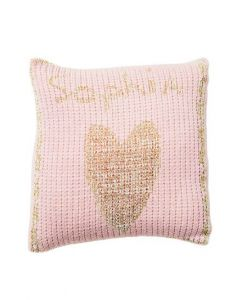 Metallic Single Heart & Name Pillow Available in Variety Colors