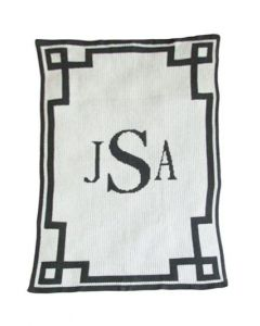 Butterscotch Monogram & Scroll Blanket