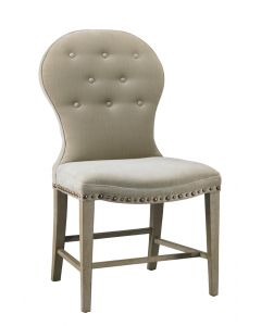 Button Back Upholstered Armless Dining Chair with Nail Trim