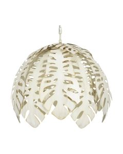 Tropical Leaf Chandelier with Antique Cream Finish