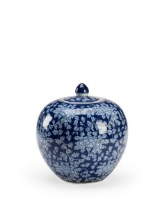Blue and White Ceramic Clarke Vase with Hand Painted Floral Pattern - ON BACKORDER UNTIL APRIL 2021
