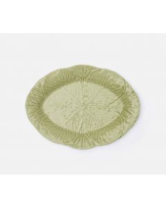 Cabbage Leaf Design Oval Soft Green Serving Platter, Set of 2