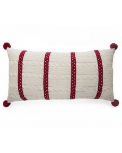 Red & Ecru Polka Dot Stripe Cable Holiday Lumbar Pillow With Pom Poms