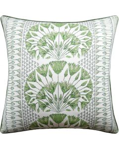 Cairo Square Decorative Pillow in Green and White – Available in Two Sizes